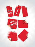 Red labels for special discount sale Stock Photography