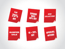 Red labels for spring discount sale Royalty Free Stock Image