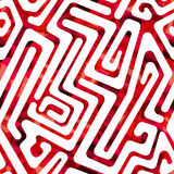 Red labyrinth seamless pattern Stock Photo