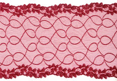 Red  lace. On white background Stock Photos
