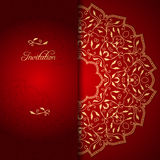 Red lace background with floral ornament Royalty Free Stock Image