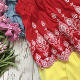 Red lace blouse close-up on a wooden background stock photography