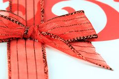 Red Lace Christmas Bow Royalty Free Stock Photography