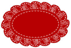 Red Lace Doily Place Mat, Leaf Edge. VINTAGE LACE DOILY PLACE MAT, antique leaf pattern, red oval on white background for setting table, Christmas, Valentine's Royalty Free Stock Photo
