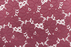 Red lace fabric with floral pattern Royalty Free Stock Photography