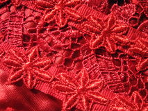 Red lace fabric Royalty Free Stock Photos