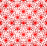 Red lace fine seamless background with overlapping circle patterns Royalty Free Stock Images