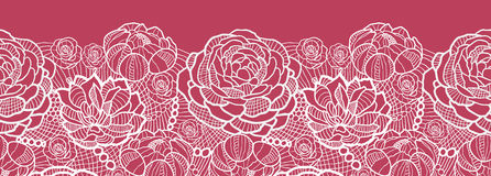 Red Lace Flowers Horizontal Seamless Pattern Royalty Free Stock Photos