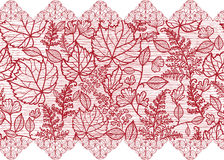 Red lace flowers horizontal seamless pattern Stock Photos