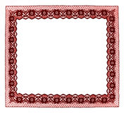 Red lace frame isolated on white Royalty Free Stock Images