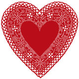 Red Lace Heart Doily on White Background Stock Image
