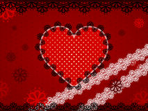 Red lace heart on maroon dotted background Royalty Free Stock Image