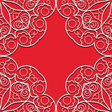Red lace seamless pattern. Red lace seamless hand drawn background with circle ornament Stock Images