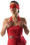 Red lace woman Royalty Free Stock Image