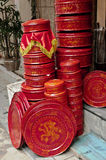 Red Lacquer. Boxes and plates in Hanoi market Royalty Free Stock Photo
