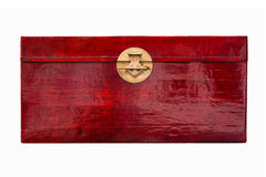 Red Lacquer Box. Chinese red lacquer linen box with brass handle Stock Image