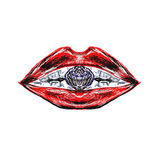 Red lacquered lips and diamond Royalty Free Stock Photos