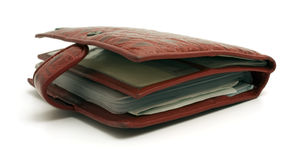 Red lacquered wallet isolated Stock Image