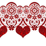 Red lacy heart seamless pattern on white Royalty Free Stock Photos
