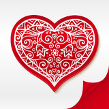 Red lacy vector heart on curved white paper Royalty Free Stock Photos