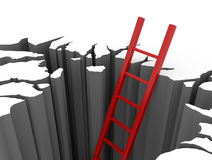 Red ladder leads out of a pit. 3D render illustration - red ladder leads out of a pit Stock Images