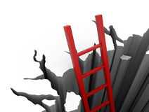 Red ladder leads out of a pit Stock Image