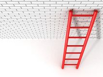 Red ladder leans against a brick wall Royalty Free Stock Image