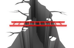 Red ladder over a pit Stock Image