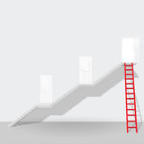 Red ladder and stair up to the door open success business concep Royalty Free Stock Image