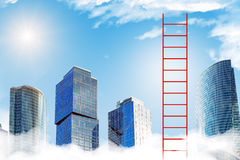 Red ladder to sky. With skyscrapers and clouds Stock Photos