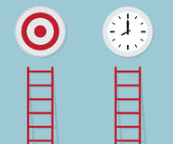 Red ladder to target and time, business concept. Vector illustration Royalty Free Stock Image