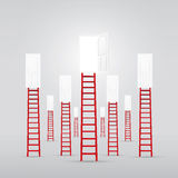 Red ladder up to the door open success Stock Image