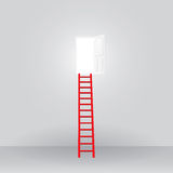 Red ladder up to the door open success Stock Photo