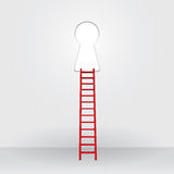 Red ladder up to the key hole success Business Royalty Free Stock Images