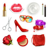 Red ladies handbag with cosmetics and accessories. Red ladies handbag with cosmetics, accessories, sunglasses and high-heel shoes, vector illustration set Royalty Free Stock Images