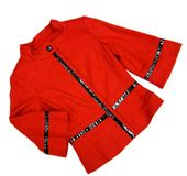 Red ladies jacket. With black stripes isolated on white Stock Images