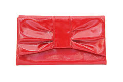 Red ladies pouch on white background Stock Images