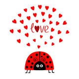 Red lady bug insect with hearts. Cute cartoon smiling face character.  Stock Photo