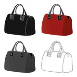 Red lady`s bag with handles. Ladies accessory items.  Woman clothes single icon in cartoon style vector symbol stoc Stock Photo