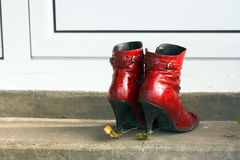 Red lady's boot Royalty Free Stock Images