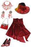 Red lady's clothes and accessories Royalty Free Stock Photos