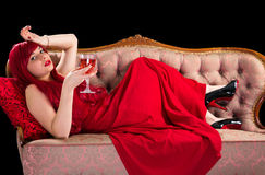 Red lady with wine Royalty Free Stock Photo