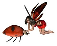 Red Ladybird Fairy. With butterfly wings and spotted ladybird, 3d digitally rendered illustration Stock Image
