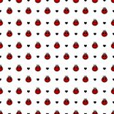 Red  ladybirds and hearts seamless vector pattern Stock Images