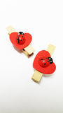 Red Ladybug on Heart Wooden Clip. Two red ladybug on heart wooden clips on white paper Stock Images
