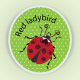 Red ladybug. Sticker. Stylized images of ladybug on green in a dot background, a cute baby character, a symbol Stock Images