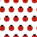 Red Ladybugs and lines cartoon seamless pattern isolated on a white background royalty free illustration