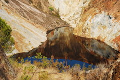 Red lake, acid mine drainage. Royalty Free Stock Photography
