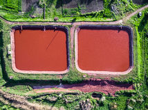 Red lakes in Kryvyi Rih, Ukraine, aerial photo. Red lakes in industrial part of Kryvyi Rih, Ukraine, aerial photo Royalty Free Stock Images