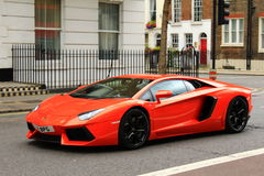 Red Lamborghini on London streets Stock Image